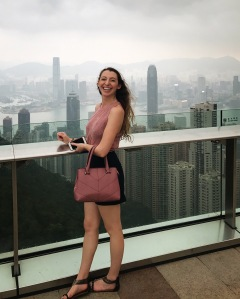 Taking in the views from the top of Victoria Peak in Hong Kong
