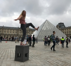 Having fun outside the Louvre Museum