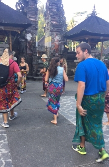 Donning Sarongs for Pura Padang Temple in Ubud